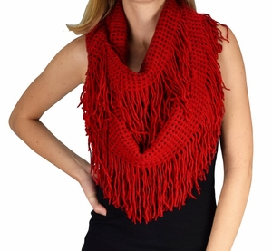 Red Soft Checkered Fringe Infinity Loop Scarf