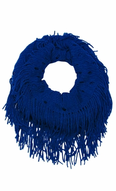 Blue Bohemian Crochet Hand Knitted Fringe Infinity Loop Scarf Wrap
