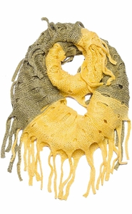 Yellow Mix Bohemian Crochet Hand Knitted Fringe Infinity Loop Scarf Wrap