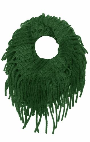 Mint Mix Bohemian Crochet Hand Knitted Fringe Infinity Loop Scarf Wrap
