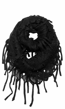 Black Mix Bohemian Crochet Hand Knitted Fringe Infinity Loop Scarf Wrap