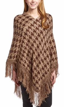 Brown Knit Houndstooth Cape Batwing Fringe Tassels Poncho