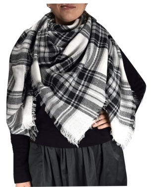 Black White Plaid Woven Oversized Fringe Scarf Blanket Shawl Wrap Poncho