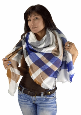 Blue Tan Plaid Woven Oversized Fringe Scarf Blanket Shawl Wrap Poncho