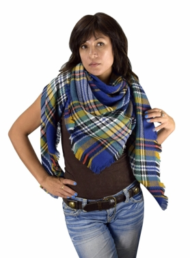 Blue Yellow Plaid Woven Oversized Fringe Scarf Blanket Shawl Wrap Poncho