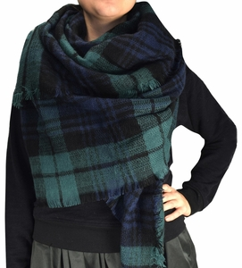 Green Black Plaid Woven Oversized Fringe Scarf Blanket Shawl Wrap Poncho