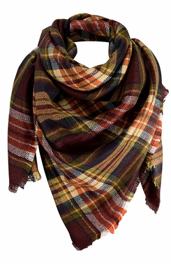 Maroon Orange Warm Plaid Woven Oversized Fringe Scarf Blanket Shawl Wrap Poncho