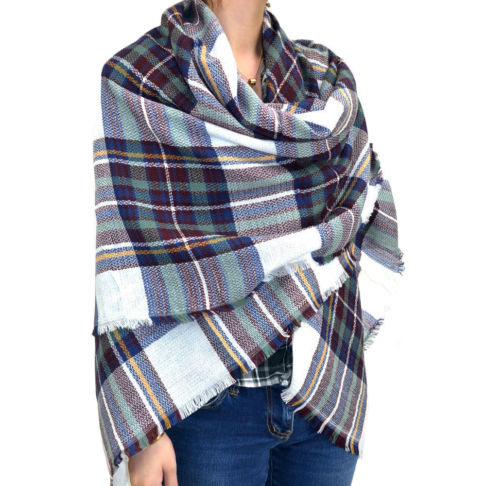 Navy Brown Warm Oversized Scarf Blanket Shawl Wrap Poncho