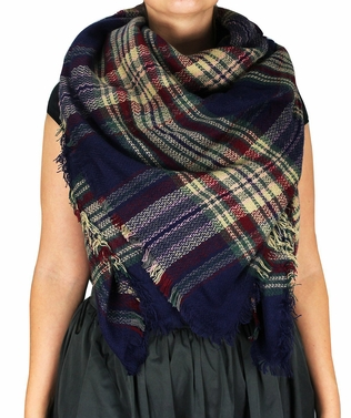Navy Wine Warm Plaid Woven Oversized Fringe Scarf Blanket Shawl Wrap Poncho