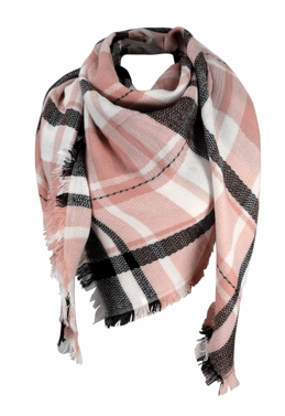 Pink Black Warm Plaid Woven Oversized Fringe Scarf Blanket Shawl Wrap Poncho