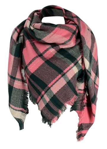 Warm Plaid Woven Oversized Fringe Scarf Blanket Shawl Wrap Poncho (Pink Green)