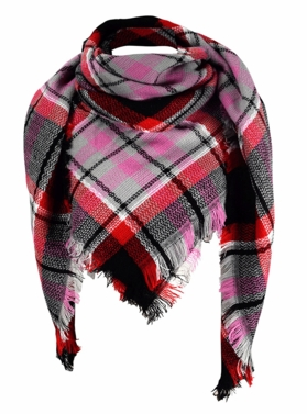 Warm Plaid Woven Oversized Fringe Scarf Blanket Shawl Wrap Poncho (Purple Black)