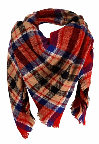 Red Black Warm Plaid Woven Oversized Fringe Scarf Blanket Shawl Wrap Poncho