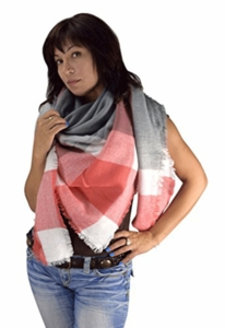 Red Gray Warm Plaid Woven Oversized Fringe Scarf Blanket Shawl Wrap Poncho