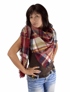 Red Navy Warm Plaid Woven Oversized Fringe Scarf Blanket Shawl Wrap Poncho