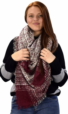 Burgundy Multicolor Tartan Plaid Oversized Blanket Scarf Shawl Wrap Poncho