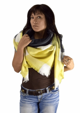 Yellow Gray Warm Plaid Woven Oversized Fringe Scarf Blanket Shawl Wrap Poncho
