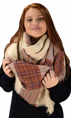 Beige Warm Tartan Plaid Woven Oversized Fringe Scarf Blanket Shawl Wrap