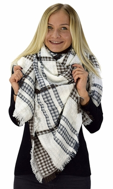 Brown White Warm Tartan Plaid Woven Oversized Fringe Scarf Blanket Shawl Wrap