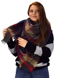 Navy Blue Tan Tartan Plaid Woven Oversized Fringe Scarf Blanket Shawl Wrap