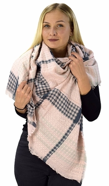 Pink Navy Warm Tartan Plaid Woven Oversized Fringe Scarf Blanket Shawl Wrap