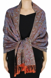 Sophisticated Reversible Paisley Floral Shawl (Rainbow)