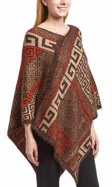 Western Extra Soft Fuzzy Tribal Aztec Batwing Shawl Wrap Poncho (Orange)
