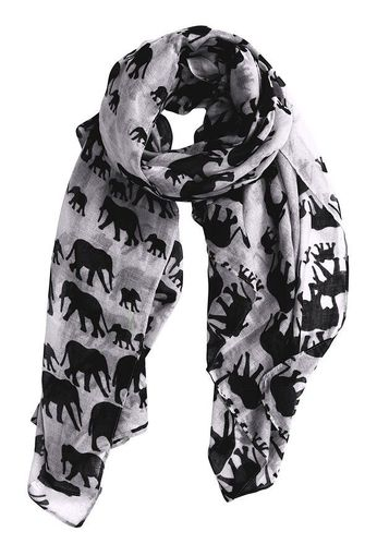 White Artsy Elephant Flower Soft and Flowing Scarf