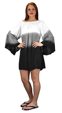 White Black Off Shoulder Flutter Sleeve Beach Cover Ups (One Size)