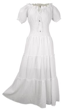 White Renaissance Vintage Boho Cotton Smocked Gypsy Tank Dress