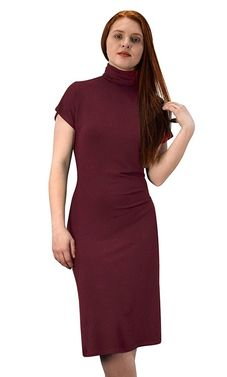 Wine Turtle Neck Short Sleeve Midi Dress