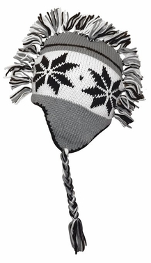 Charcoal Grey Knit Snowflake Unisex Trooper Trapper Mohawk Fringe Ski Hat