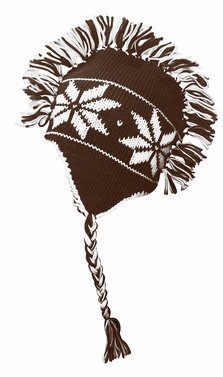 Chocolate Brown Knit Snowflake Unisex Trooper Trapper Mohawk Fringe Ski Hat