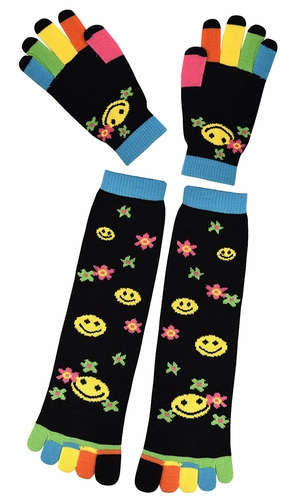Winter Warm Colorful Toe Socks and Gloves Pack Emoji Black
