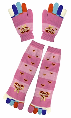 Pink Warm Colorful Toe Socks Gloves Pack Hearts