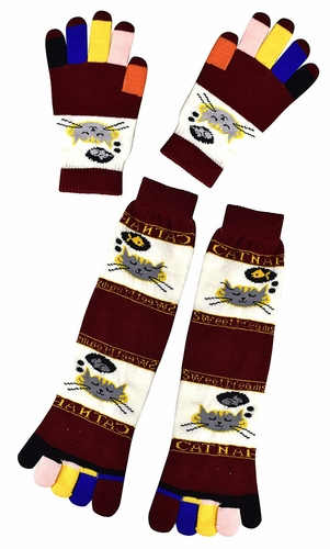 Maroon Warm Colorful Toe Socks Gloves Pack Kitty