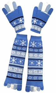 Blue Winter Warm Colorful Toe Socks and Gloves Pack Snowflake