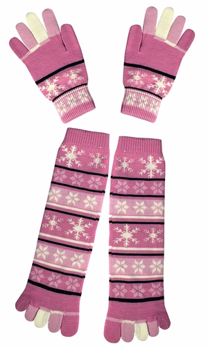Pink Winter Warm Colorful Toe Socks and Gloves Pack Snowflake