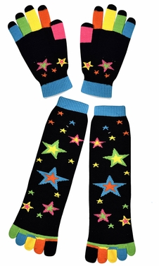 Stars Black Winter Warm Colorful Toe Socks and Gloves Pack
