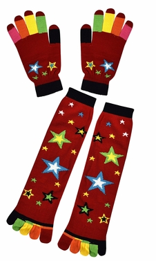 Stars Red Winter Warm Colorful Toe Socks and Gloves Pack