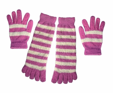 Baby Pink Winter Warm Striped Fuzzy Toe Socks and Gloves Pack