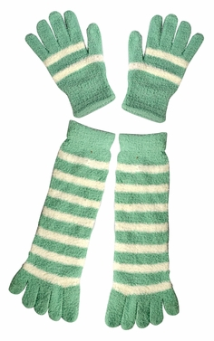 Mint Winter Warm Striped Fuzzy Toe Socks and Gloves Pack