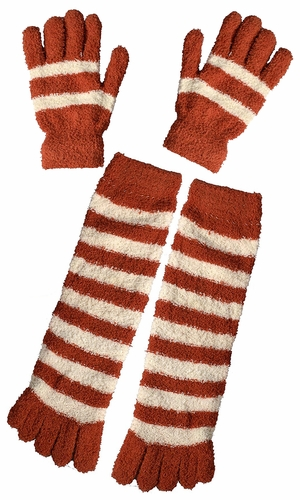 Orange Winter Warm Striped Fuzzy Toe Socks and Gloves Pack