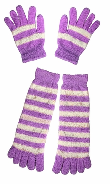 Purple Winter Warm Striped Fuzzy Toe Socks and Gloves Pack