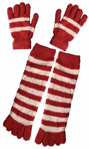 Winter Warm Striped Fuzzy Toe Socks and Gloves Pack (Red)