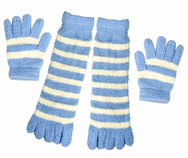 Sky Blue Winter Warm Striped Fuzzy Toe Socks and Gloves Pack