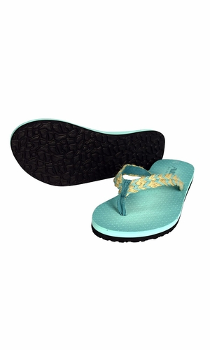 Women's Bright Fun Flip Flops Pool Beach Water Shoes Chevron Teal