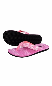 Women's Casual Strappy Summer Slipper Shower Sandal Beach Flip Flops Pink and White