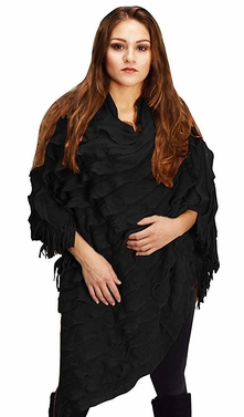 Women Light Trendy Ruffle Batwing with Fringe Shawl Wrap Poncho (One Size, Ebony)