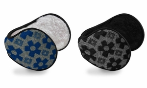 Blue Black Printed Earmuffs with Plush Lining 2-Pack Set